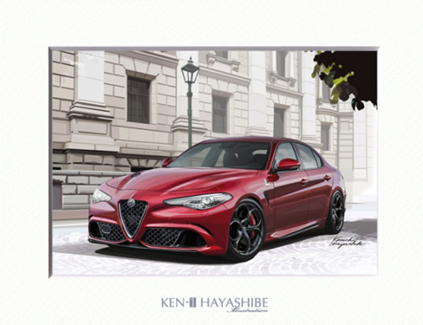 Alfa Romeo Giulia Quadrifoglio (Red) Illustration by Kenichi Hayashibe