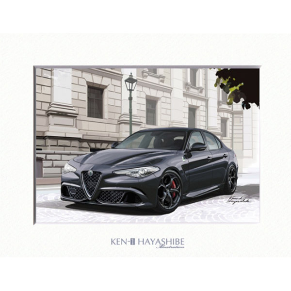 Alfa Romeo Giulia Quadrifoglio (Black) Illustration by Kenichi Hayashibe