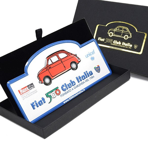 FIAT 500 CLUB ITALIA Metal Plate(White)