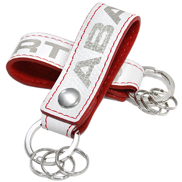 ABARTH Leather Strap Keyring(White)