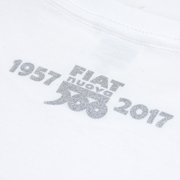 FIAT 500 60anni Memorial Stamp T-Shirts(White)