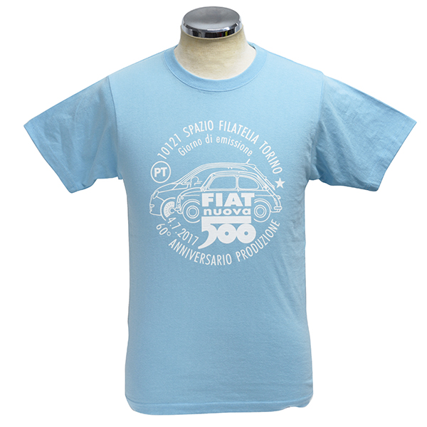 FIAT 500 60anni Memorial Stamp T-Shirts(Light Blue)