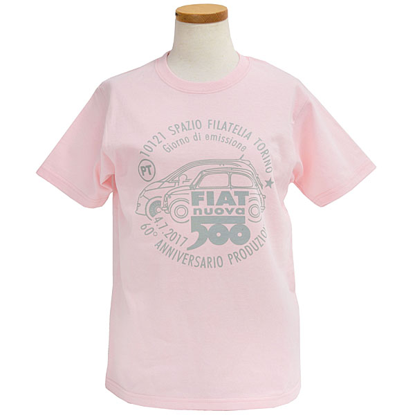 FIAT 500 60anni Memorial Stamp T-Shirts(Pink)