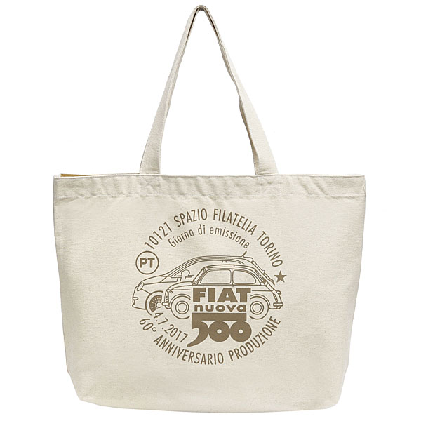 FIAT 500 60anni Memorial Stamp Tote Bag-Natural-