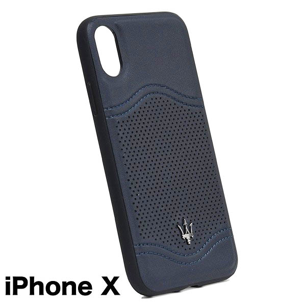 MASERATI純正 iPhone Xレザー背面ケース-GRANLUSSO/ブルー<br><font size=-1 color=red>06/08到着</font>