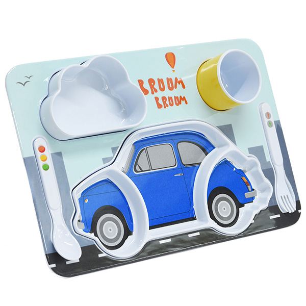 FIAT Nuova 500 Kids Lunch Plate Set(Blue)