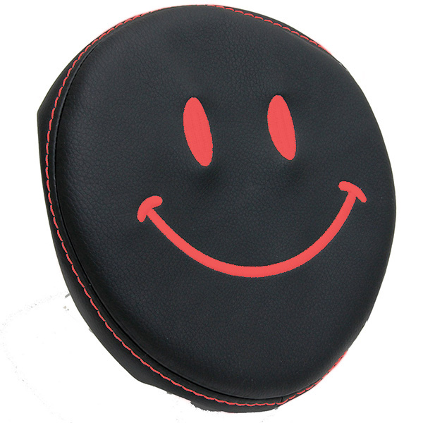 FIAT NEW 500(Series 4) Fake Leather Headrest Cover (Smile/Black)