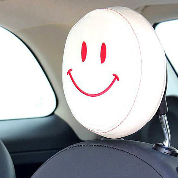 FIAT NEW 500(Series 4) Fake Leather Headrest Cover (Smile/Ivory)