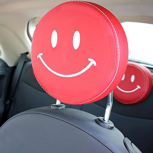 FIAT NEW 500(Series 4) Fake Leather Headrest Cover (Smile/Red)