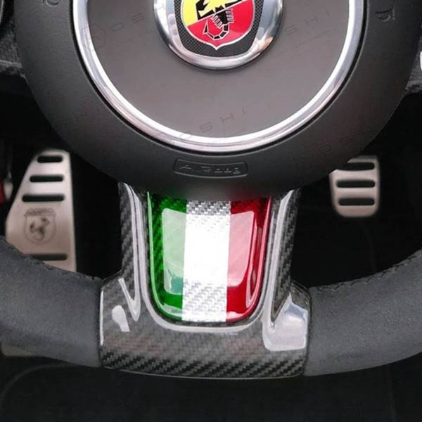 ABARTH 595(series 4) Steering Wheel Carbon Trim(Silver Carbon Tricolour) by KOSHI