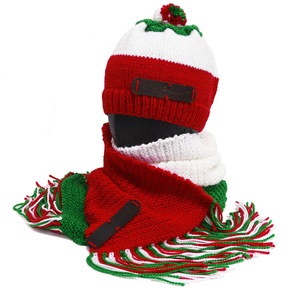 Alfa Romeo Knitted Hat & Muffler(Tricolor)