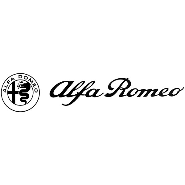 Alfa Romeo Logo & New Emblem Sticker(Black/Die Cut/260mm)