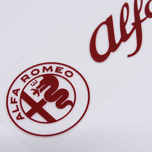 Alfa Romeo Logo & New Emblem Sticker(Red/Die Cut/120mm)