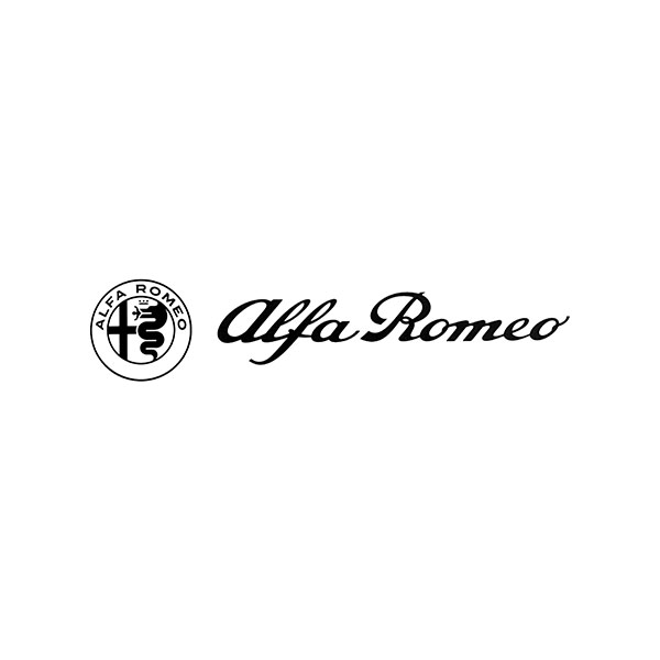 Alfa Romeo Logo & New Emblem Sticker(Black/Die Cut/172mm)