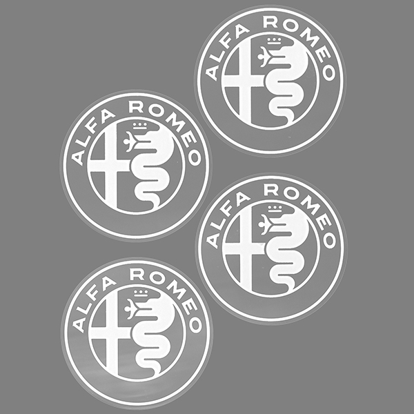 Alfa Romeo New Emblem Stickers Set(White/4pcs.)
