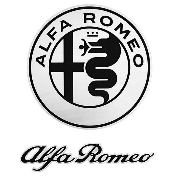 Alfa Romeo New Emblem & New Logo Stickers Set(Black)