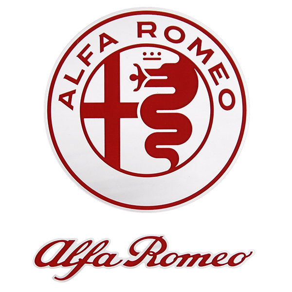 Alfa Romeo New Emblem & New Logo Stickers Set(Red)