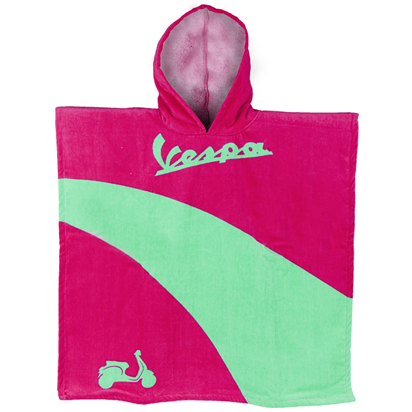 Vespa Official Beach Poncho for Kids(Pink/Green)