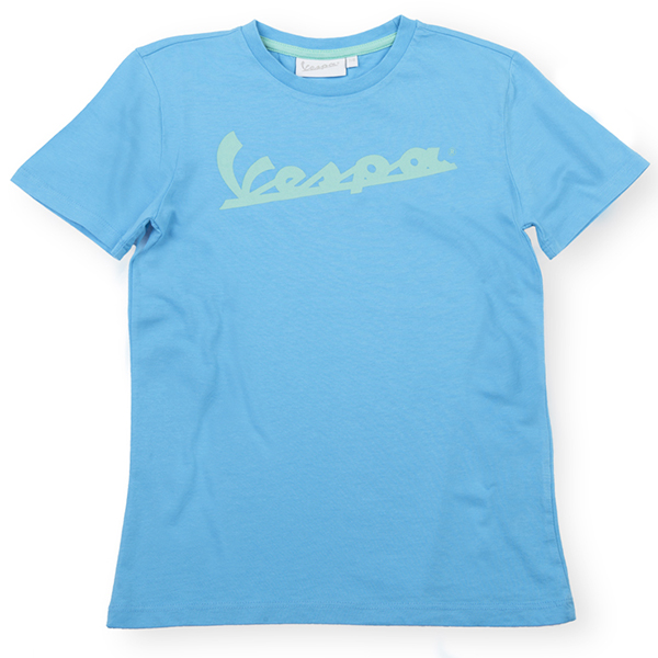 Vespa Official Logo T-Shirts for Kids(Light Blue)