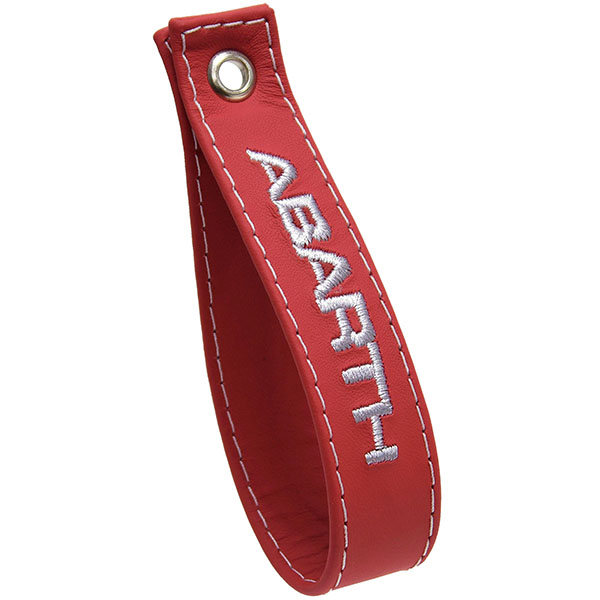 ABARTH 500 Rear Gate Leather Strap(Red/ABARTH White Logo)