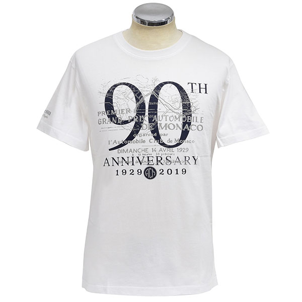 MONACO GRAND PRIX 2019 ACM Official T-Shirts-90TH ANNIVERSARY/White-