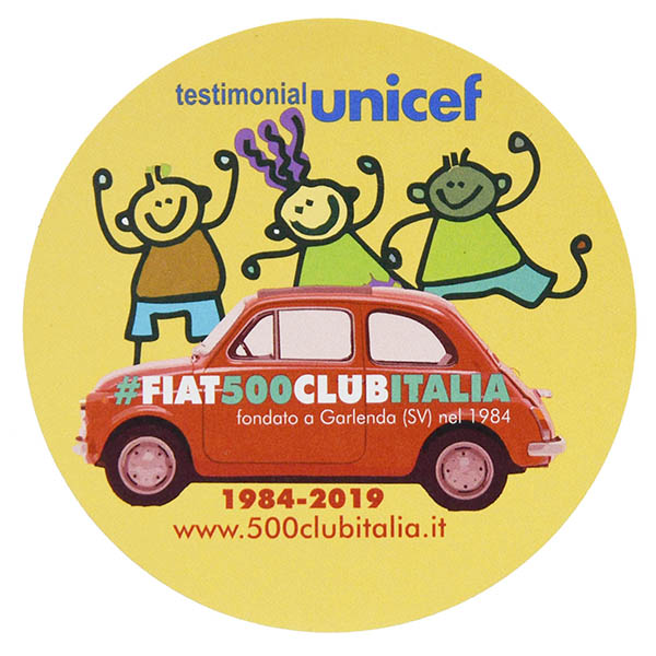 FIAT 500 CLUB ITALIA UNICEF 2019Sticker(Red)<br><font size=-1 color=red>02/07到着</font>