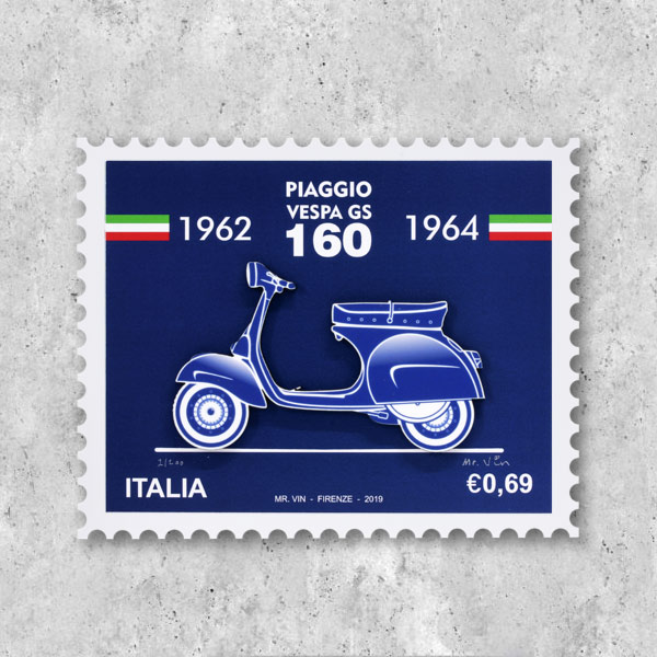 VESPA GS160 Stamp type illustration-BLUEPRINT-by Mr.Vin (Small)