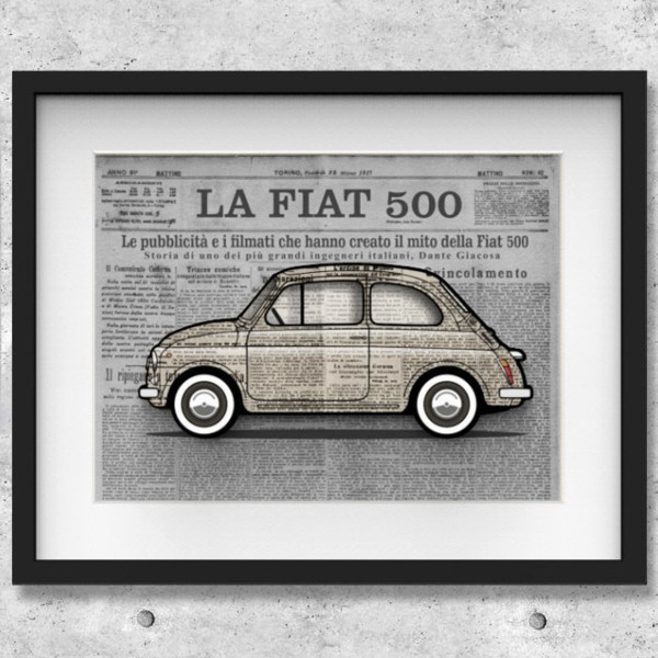 FIAT Nuova 500 Illustration by Mr.Vin -GIORNALE- (Large)