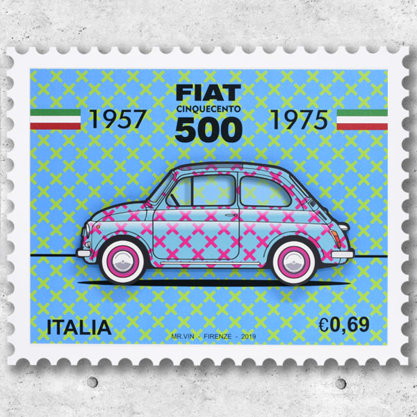 FIAT Nuova 500切手型イラストレーションby Mr.Vin -TRIS- (Large)