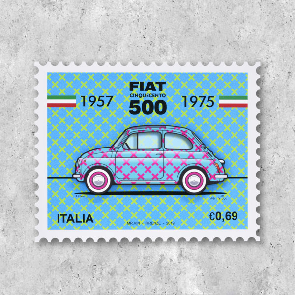 FIAT Nuova 500切手型イラストレーションby Mr.Vin -TRIS- (Small)