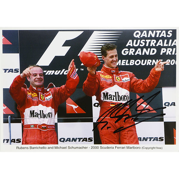 Scuderia Ferrari 2000 M.Schumacher&R.Barrichello Photo-M.schumacher Signed-