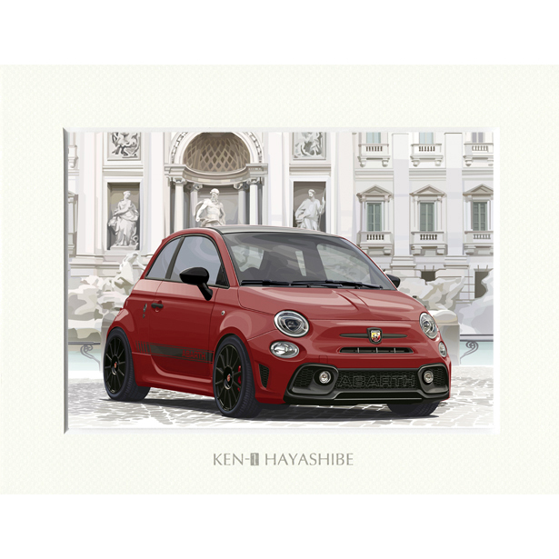 ABARTH 595 -シリーズ4-(レッド)イラストレーションby 林部研一<br><font size=-1 color=red>04/10到着</font>