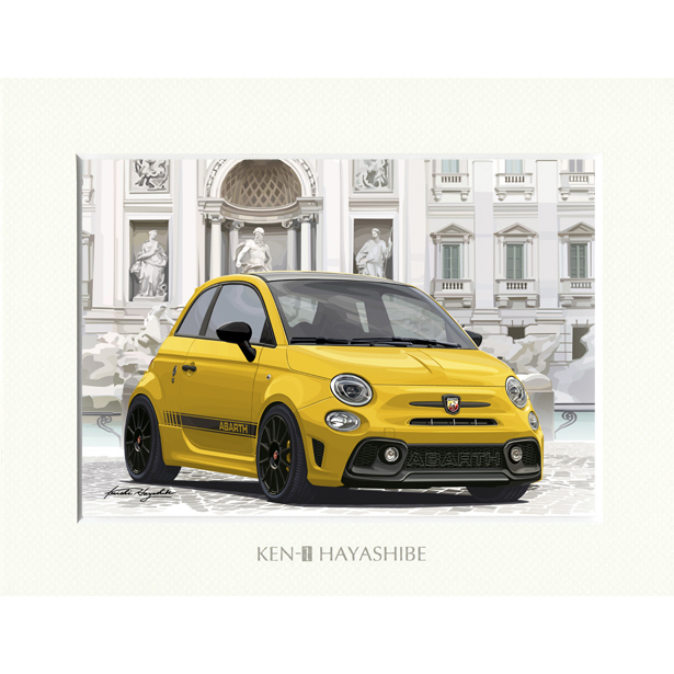 ABARTH 595 -シリーズ4-(イエロー)イラストレーションby 林部研一<br><font size=-1 color=red>11/18到着</font>