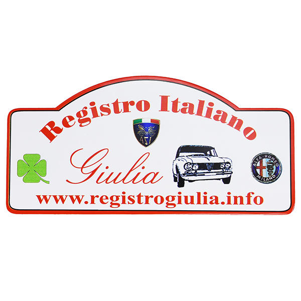 REGISTRO Italiano GIULIA Club Alfa Romeoラリープレート型ステッカー