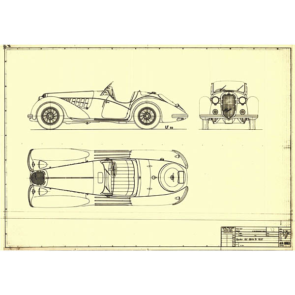 Alfa Romeo 8C 2900B Touring Spider 1937 Blue Drawing Print
