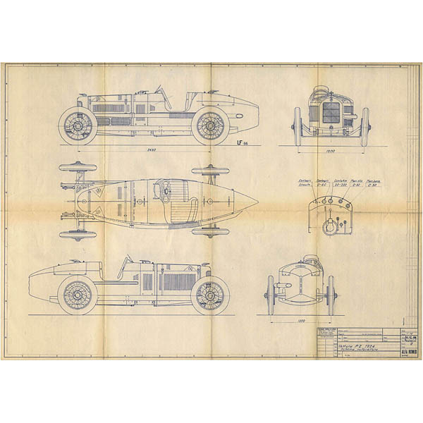 Alfa Romeo P2 1924 Blue Drawing Print