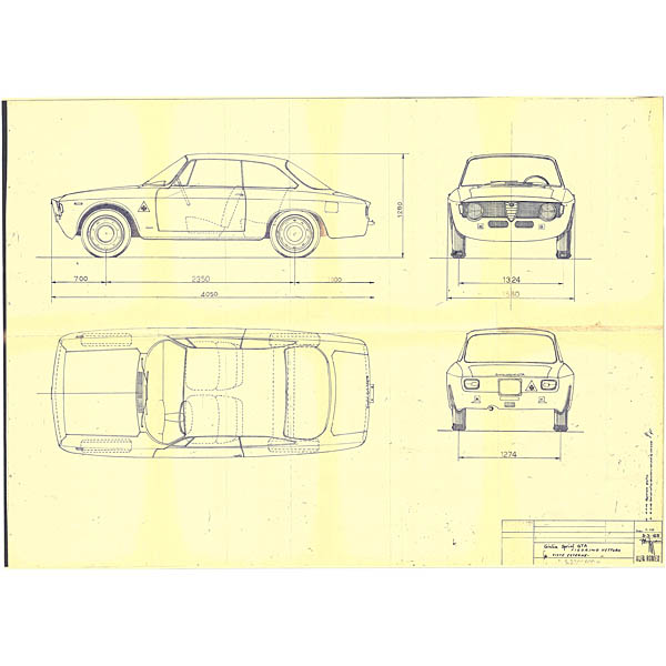 Alfa Romeo Giulia Sprint GTA Blue Drawing Print