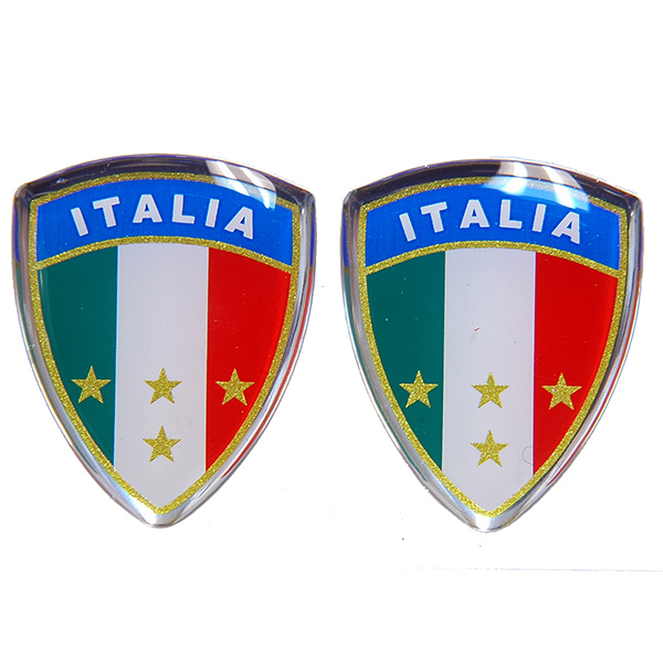 Italian Flag Crest Shaped 3D Sticker Set