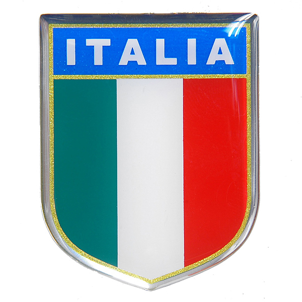 Italian Flag Crest Shaped 3D Sticker Type D