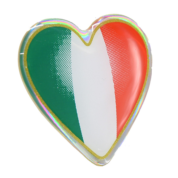 Italian Flag 3D Heart Shaped Sticker